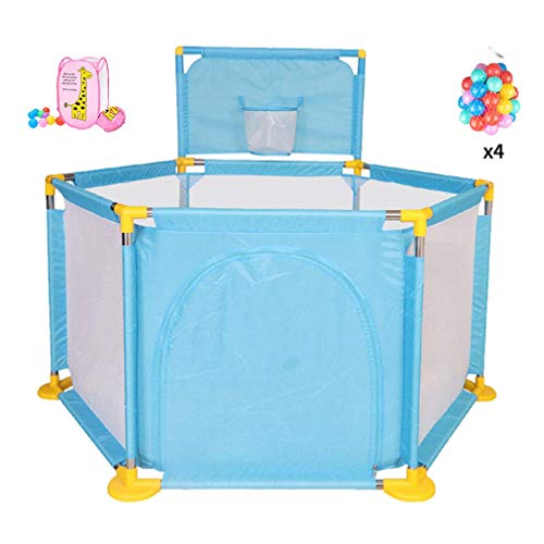 Large Baby Playpen, Portable Safety Kids Playard for Infants - with Mini Basketball Hoop and Ball,Storage Basket,Door - Safety Gate Compact Best Fence for Indoor Outdoor