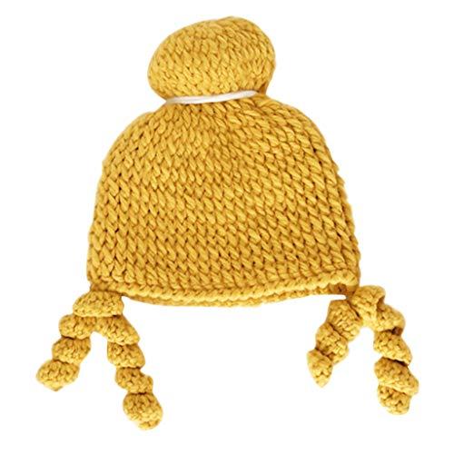 Chapeau de Perruque pour Enfants Chapeau d'hiver pour Enfants Tout-Petits garçons Filles Enfants tricoté Bonnet Chapeau Noël Crochet Mignon Chapeau en Tricot
