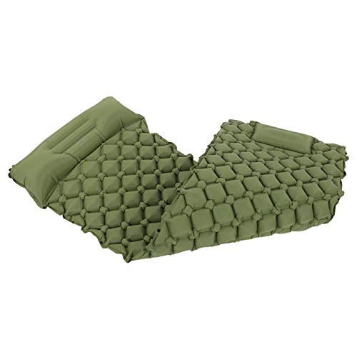 Duokon Colchoneta Inflable para Dormir con Almohada Bomba incorporada Colchón de Aire Impermeable para Acampar para mochileros Tienda de campaña para Viajar(Ejercito Verde)