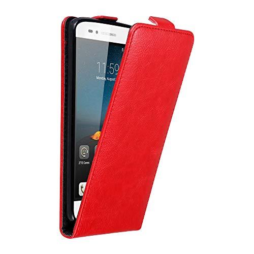 Cadorabo Hülle für ZTE Blade A612 in Apfel ROT - Handyhülle im Flip Design mit Magnetverschluss - Case Cover Schutzhülle Etui Tasche Book Klapp Style