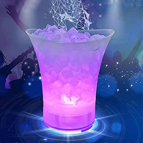 Mr.LQ Recipiente De Hielo Brillante LED, Audio Bluetooth, Recipiente De Cubitos De Hielo Que Cambia De Color, Recargable, para Champán, Vino, Bebidas, Fiesta
