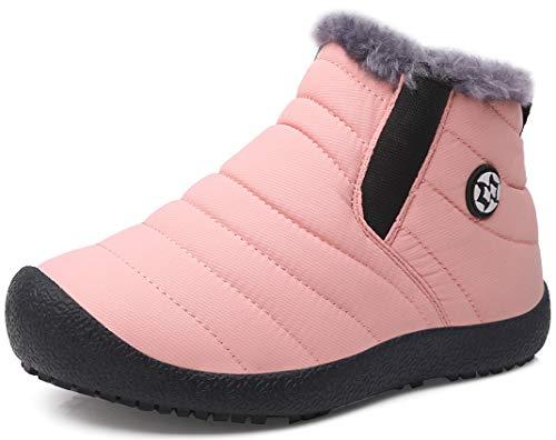Gaatpot Zapatos Invierno Niña Niño Botas de Nieve Forradas Zapatillas Sneaker Botines Planas para Unisex Niños Rosa 31.5 EU = 32 CN