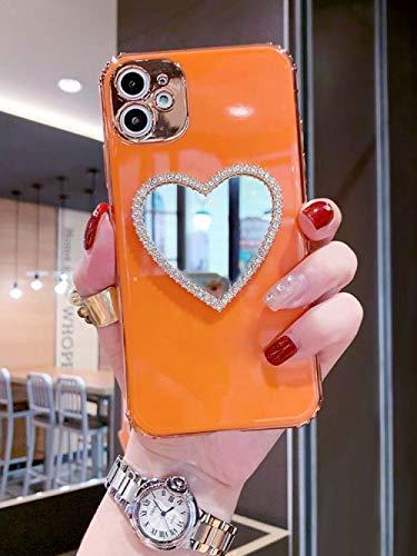 Caja del teléfono del diamante de la muchacha del espejo del maquillaje del corazón de la electrochapa 3D de lujo para el iPhone 11 12 Pro Max X XS XR 7 8 Plus cubierta suave, 4, para el iPhone XR