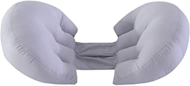 Vnique Side Sleeper Pregnancy Support Pillow |Double Wedge for Both Belly and Back |Adjustable Center Panel According to Body