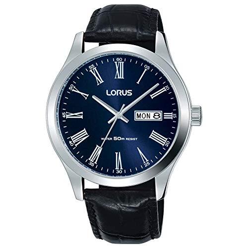 LORUS- QUARTZ GENTS STAINLESS STEEL BLUE DIAL BLACK STRAP WATCH