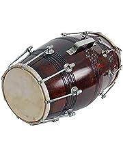 GT manufacturers Wooden Musical Instrument Dholak Drum Nuts & Bolt Design1 (Brown)