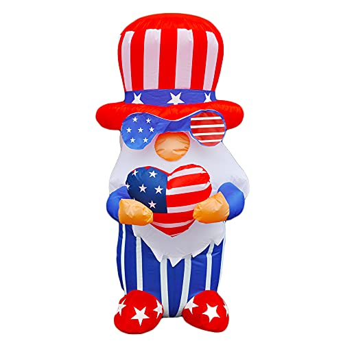 SEASONBLOW 4 Ft Patriotic Independence Day 4th of July Inflatable Gnome Decorations Home Yard Outdoor Indoor Decor
