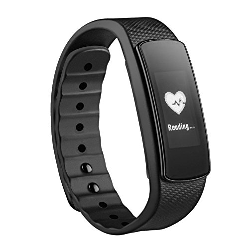 Mpow Fitness-Armband mit Herzfrequenz-Monitor, Fitness-Armband für Smartphone, Schwarz