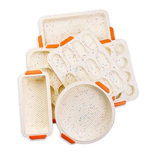 Antihaft-Backformen Silikon Backformen Set 6 Stück 1 Muffinform 12 Mulden Madeleine-Pfanne Tassen Baguette-Pfanne 8 Toast Kastenform runde Kuchenform und quadratische bunt