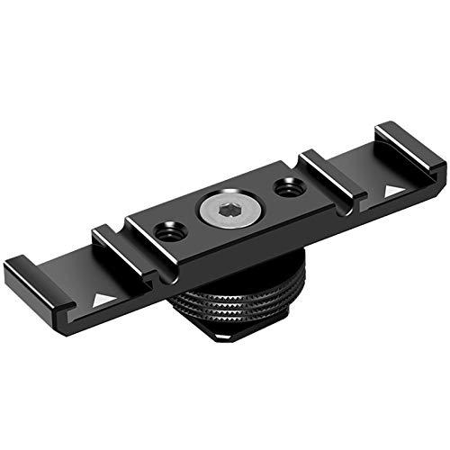 MOSHUSO Dual Cold Shoe Base Adapterhalterung für Mikrofon-LED-Lichtblitz