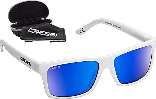 Cressi Bahia Flotantes Sunglasses Gafas De Sol Deportivo, Unisex adulto, Blanco/Azul Lentes espejados