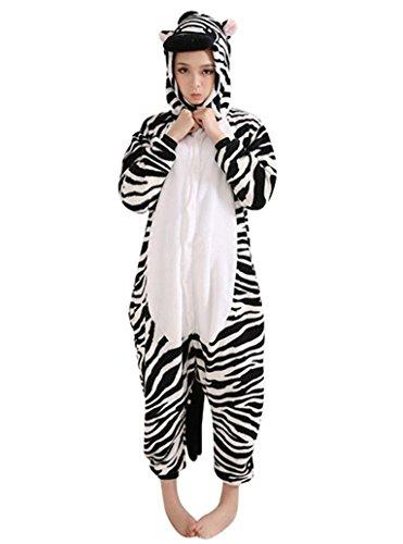 Emmarcon - Disfraz de carnaval halloween pijama cálido de animales kigurumi cosplay zoológico onesies M/altezza 160-169cm,max 80kg Cebra