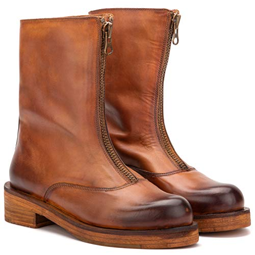 Vintage Foundry Co. Dallas Women's Fashion Burnished Tan Leather Front Zip-Up Mid-Calf Boots, Round-Toe, Stacked Heel Platform, Leather-Rubber Outsole; Size 7