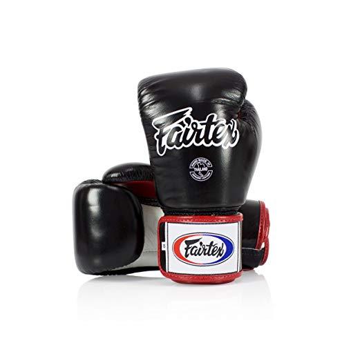 Fairtex Boxhandschuhe / Boxhandschuhe, Muay Thai-Stil, 237 g, Schwarz/Weiß/Rot