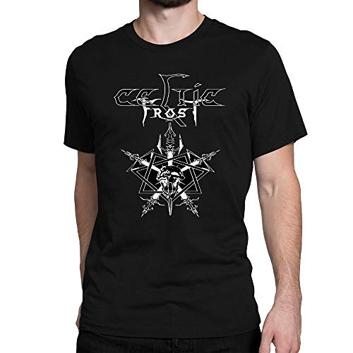 JIEHONGH Men's Celtic Frost Logo White Cotton T-Shirt Size Small
