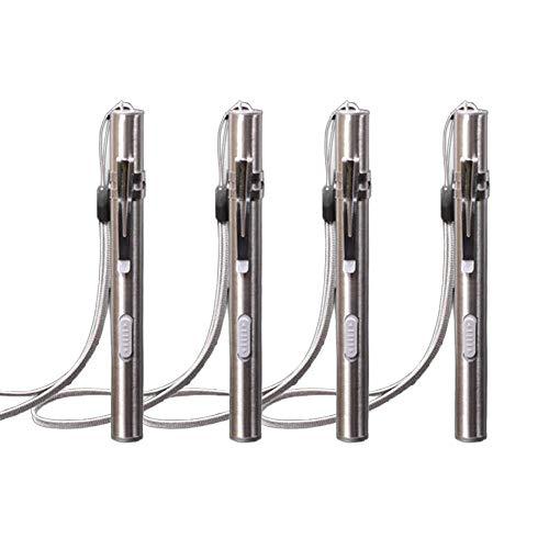 USB Rechargeable Penlight, 4Pcs Stainless Steel High Lumen Mini LED...