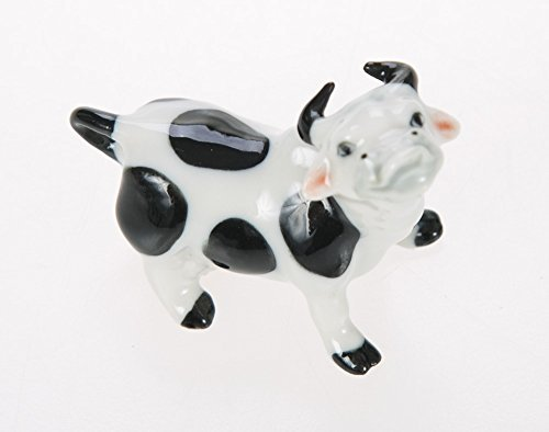 Small Black Spotted Cow Figurine - 1.25  Tall Collectible Animal Art - Miniature Hand Made and Painted Ceramic Table Decor Perfect for Gifts and Souvenirs -1  W x 2  L x 1.25  H