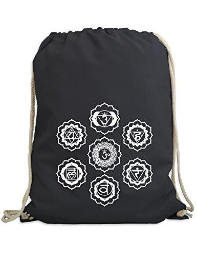 Turnbeutel: Sieben Chakren - Yoga Sport-Beutel - Gym-Bag - Tasche - Rucksack - Meditation Fitness Zen Hindusimus Indien Buddha Dharma Geschenk Chakra Soul - Streetwear Urban Hipster