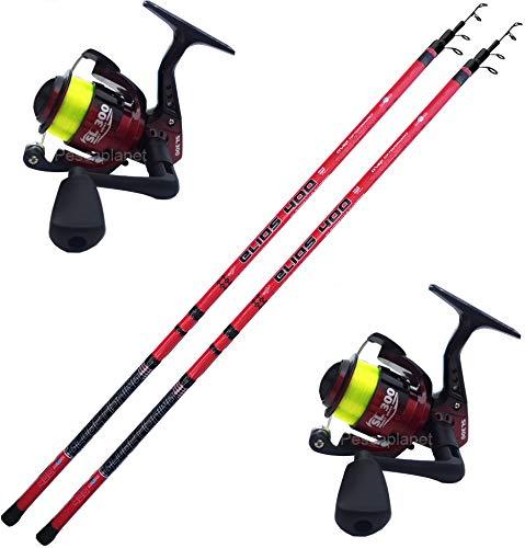 Globe Fishing Super Promo Kit Pesca alla Bolognese, 2 pz Canna Bolognese con Anelli legati Elios 4 Metri + 2 pz Mulinello Vigor SL300 FD