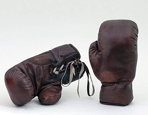 Nuevo Vintage Años 30 Estilo Cuero Real Tamaño Completo Cosido a Mano Guantes Boxeo