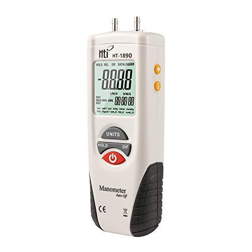 Manómetro digital, medidor de presión de aire de doble puerto, medidor de...