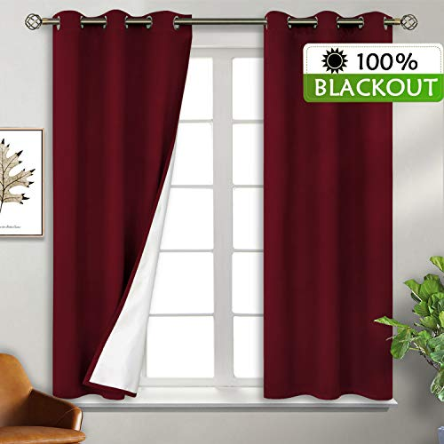 BGment Total Blackout Curtains with Coated Lining, Grommets Thermal Insulated Room Darkening Curtain for Bedroom and Living Room, 38 x 45 Inch, 2 Panels, Dark Red