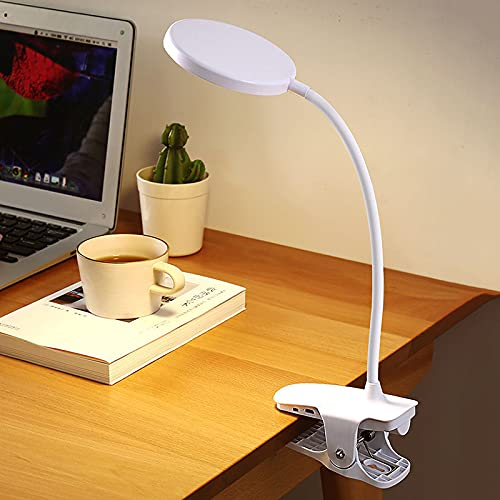 woyada Clip en la lámpara USB recargable LED luz de lectura flexible cuello noche cama lámpara 3 brillo nivel ajustable para escritorio