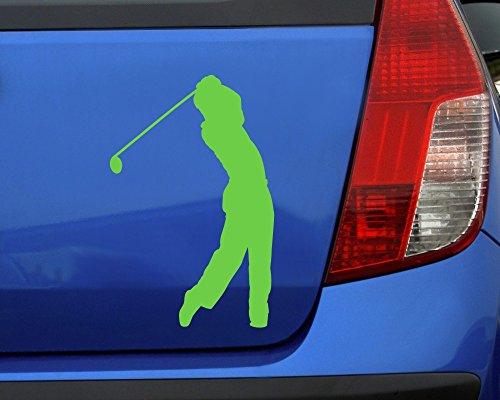 Samunshi® Autoaufkleber Golfspieler Aufkleber in 7 Größen und 25 Farben (10x6,5cm silbermetalleffekt) - 3