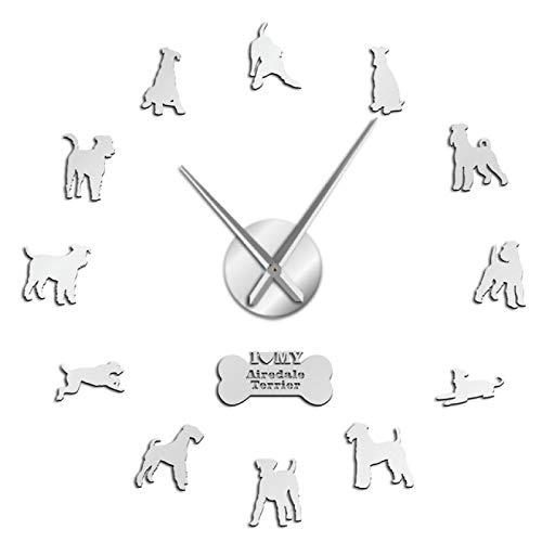 yage Reloj de Pared Grande 3D de Raza de Perro Bingley Terrier, Reloj de Pared Grande sin Marco, decoración del hogar, Pegatinas de Espejo Mudo, Arte de Pared DIY