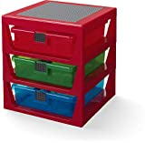 Lego 3-Drawer Storage Rack System, 13-2/3 x 12-3/4 x 15 Inches, Red