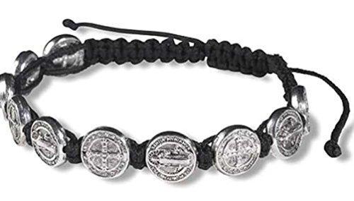 CB Silver Tone Saint Benedict Medal on Adjustable Black Cord Wrist Bracelet, 8 Inch
