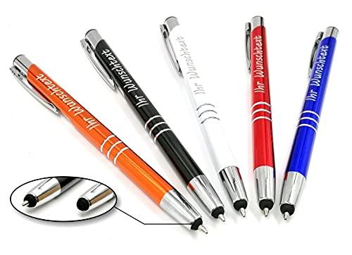 Kugelschreiber mit Gravur und Touchpen Funktion - Geschenk hochwertig für jeden. Personalisierter kugelschreiber perfekt als Werbegeschenke, Firmenartikel, Partygeschenke (50)