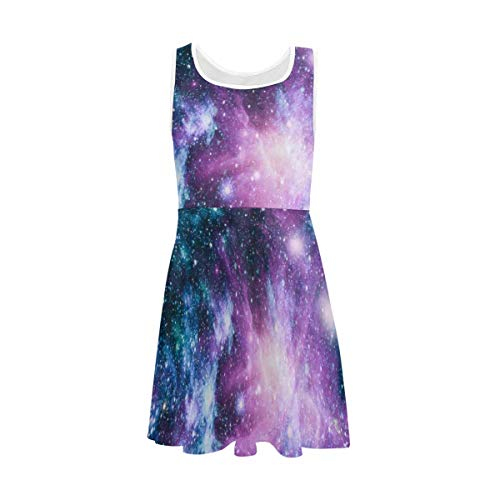 InterestPrint Girls Casual Crew Neck Sleeveless Dress A-Line Party Dress for 4-13 Years Nebula and Galaxies in Space 6T