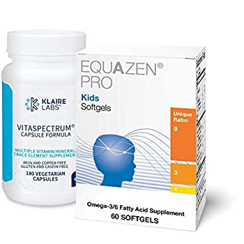 Klaire Labs Kids  Back to School Supplement Duo - Equazen Pro Omega 3/6 Fish Oil for Focus & Learning*  30 Softgels  VitaSpectrum Multivitamin to Support Brain Development*  180 Capsules