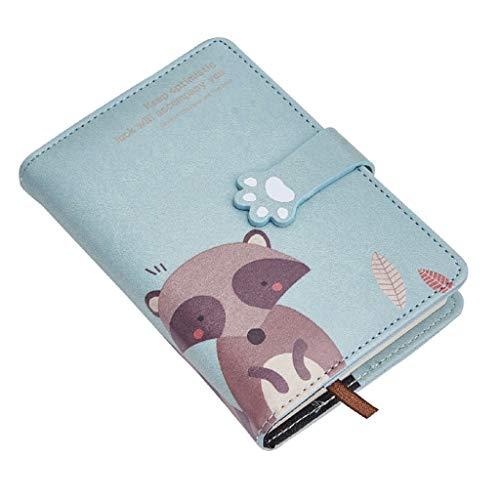 WINON Notebook,Cuaderno, Revistas Llevar A6 Lindo Cuaderno Manual Estudiante Universitario Animal Espesamiento Creativo Pequeño portátil Portátil Personalidad Diario (Color : Blue)