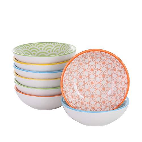 Vancasso Natsuki Porzellan Dipschalen Set, 8-teilig Schälchen, Ø 8,8 cm Snackschalen, Servierschalen