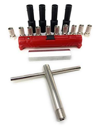 Smartsat Sat-Montage-Set 15-teilig bestehend aus Abisolierer; Montageschlüssel; Aufdrehhilfe; 8X F-Stecker + 4X Gummitülle, ideal für Quad, Twin oder Single LNB Satanlagen