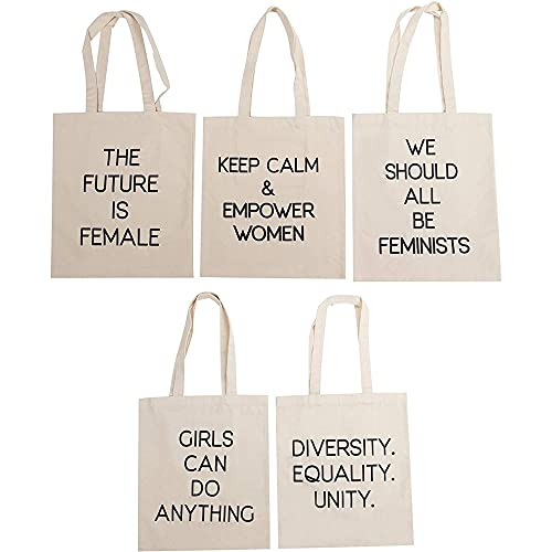 Feminist Tote Bags with Empowering Quotes for Party Favors (14 x 12 In, 5 Pack)