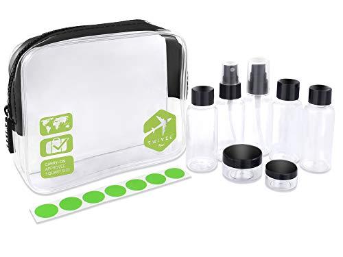 TWIVEE - Transparenter Kulturbeutel mit Reiseflaschenset - 1 Liter - Transparent-Grün - Unisex