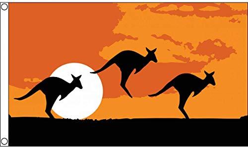 AZ FLAG Flagge AUSTRALIEN KÄNGURUH-Silhouette 150x90cm - AUSTRALISCHE WÜSTE Fahne 90 x 150 cm - flaggen Top Qualität