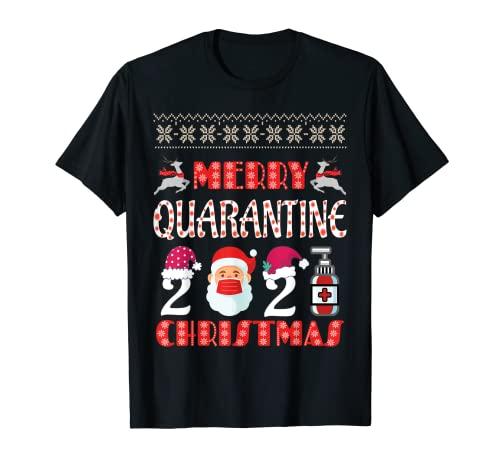 Feliz cuarentena Navidad 2021 Santa Claus máscara facial sombrero Camiseta