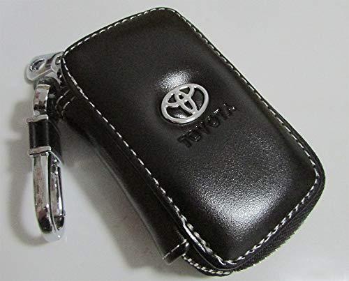 T-KB Toyota Black Premium Leather Car Key Chain Coin Holder Zipper Case Remote Wallet Bag