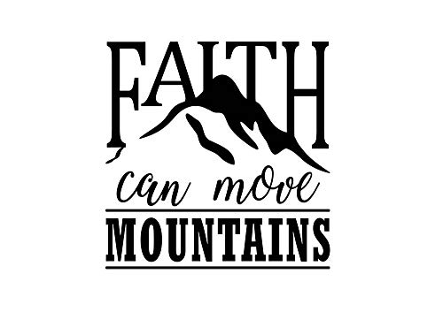 Imposing Design Faith can Move Mountains 11 x 11 Vinyl Wall Quote Sticker Decal Church Religious Calligraphy Corinthians Nursery Wall Art Decor Motivational Inspirational Decorative Lettering