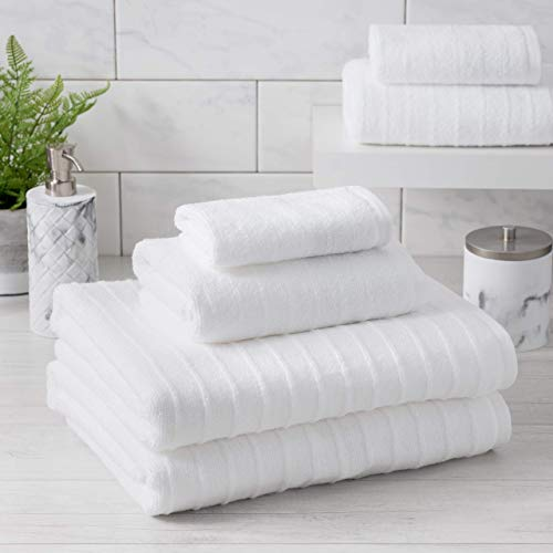 Welhome James 100% Cotton 6 Piece Towel Set | White | Stripe Textured | Supersoft & Durable | Highly Absorbent & Quick Dry | Ideal for Everyday Use | 450 GSM | 2 Bath 2 Hand 2 Wash Towels