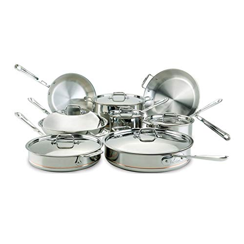 All-Clad 60090 Copper Core 5-Ply Bonded Dishwasher Safe Cookware Set, 14-Piece, Silver