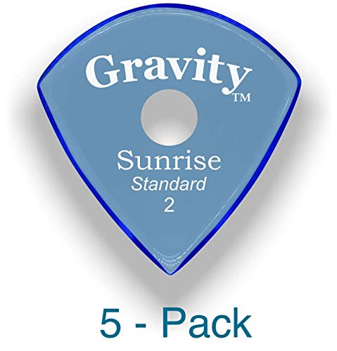 Gravity Picks: Acrylic Guitar Picks with Polished Bevels In Standard Pick Size for Brighter Sound & Tighter Grip - 5 Pack (Sunrise - Standard, No Grip Holes)