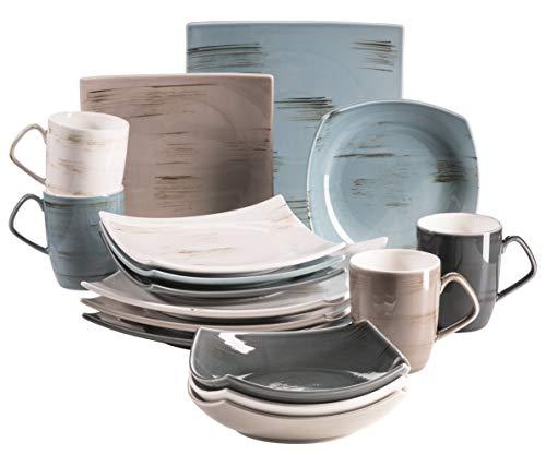 MÄSER 931448 Serie Derby, Premium Geschirr-Set mit eckigen Tellern für 4 Personen in Gastronomie-Qualität, 16-teiliges modernes Kombi-Service in bunten Pastellfarben, Durable Porzellan