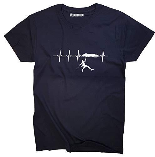 Wolkenbruch® T-Shirt Klettern Herzfrequenz, Navy, Gr.L