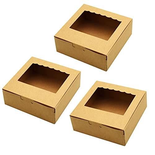 Tomedeks Caja De Pastel De Papel Natural De 12 Piezas, Utilizada Para Cupcakes Y Macarons, Puede Contener 4 Cupcakes, 13.5 * 13.5 * 5cm