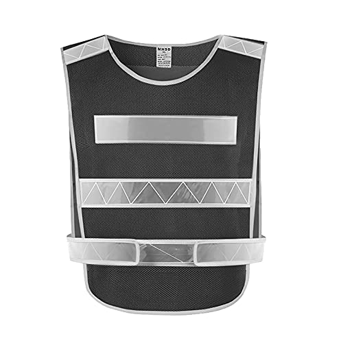 Chaleco Reflectante,Chaleco de Seguridad Moto para Exteriores de Alta Visibilidad Ajustable Correr/Trotar/Motociclismo/Ciclismo, Chaleco Reflectante de Seguridad -Black Mesh